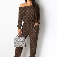 LV Louis Vuitton Women Long Sleeve Top Pants Two-Piece