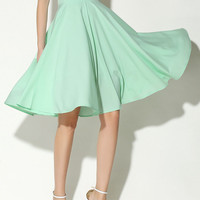Light Green High Waist A-Line Midi Skater Skirt