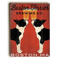 Boston Terrier Brewing Co by Artist Ryan Fowler Wood Sign
