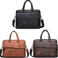 Leather Messenger Bag Men's Briefcase Famous Brand JEEP 3 Colors High Quality will hold  13.3 inch Laptop(NOT INCLUDED) FREE SHIPPING
