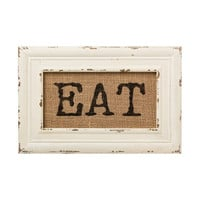 Vintage Bistro Burlap Printed Framed Wall Decor for Kitchen Dining Restaurant (EAT)