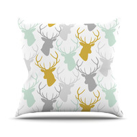 "Pellerina Design ""Scattered Deer White"" Gold Green Throw Pillow"
