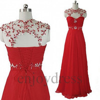 Custom Fashion Red Beaded Long Prom Dresses Evening Dress Formal Party Dress Wedding Party Dress New Sexy Dress Party Sexy Evenig Gowns
