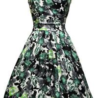 Summer Green Rose Floral Tea Dress