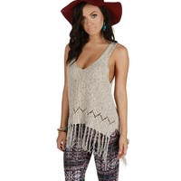 Sale- Natural Fringy Knit Top