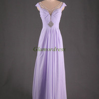 unique elegant chiffon evening dresses with rhinestones sexy v-neck floor length prom dress ho t cheap party gowns on sale