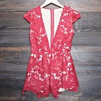 Lioness - Floral Appliqué Deep Plunge Tailored Romper in Red