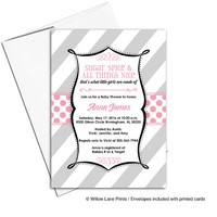 Unique baby girl shower invitation printable | black pink gray baby shower invites girl | DIY or printed - WLP00782