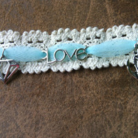 Anchor Charm Love Charm Bracelet - Lace Bracelet with Teal Tulle and Charms - Love is an Anchor