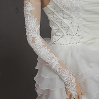 Tidetells New Gorgeous Lace Fingerless Gauze Wedding Gloves  Bridal Gloves TT209 (Color: White) = 1958039236