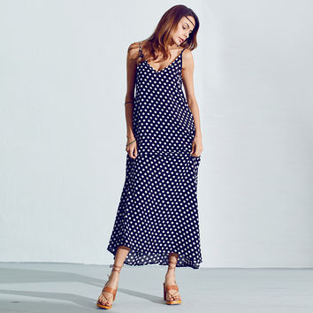 Summer Dress 2016 Fashion Women Polka Dot Casual Loose Long Maxi Dress Sexy Beachwear Sleeveless Backless Vestidos Plus Size
