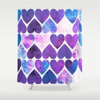 Mod Purple & Blue Grungy Hearts Design Shower Curtain by Groovyfinds