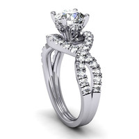 Engagement Ring hand made 0.60ct diamonds and Moissanite Center ring ,anniversary ring,  Style-30WDM