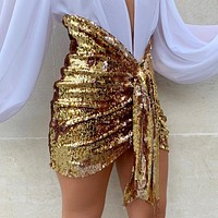 Women's sexy V-shaped hanging sequined miniskirt party nightclub outfit