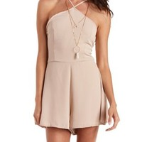 Stone Strappy Chiffon Halter Romper by Charlotte Russe