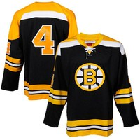 Mens Boston Bruins Bobby Orr Mitchell & Ness Black Throwback Authentic Vintage Jersey