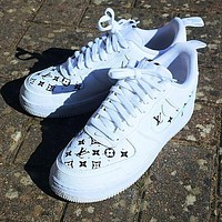 Nike Air Force 1 AF1 X Louis Vuitton LV Women Men Fashion Sneakers Shoes