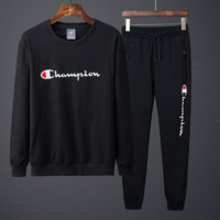 Champion autumn and winter models casual tide brand couple sports two-piece suit black