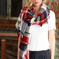 Lucky Duck Pretty in Plaid Blanket Scarf - Plaid Prep