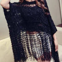 Cut Out Fringe Sweater