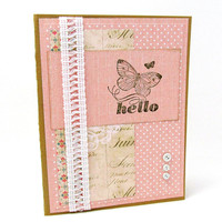 Any Occasion Card - Hello Card - Soft Coral - Butterfly - White Buttons - White Lace Trim - Blank Card - Vintage - Shabby Chic- Feminine