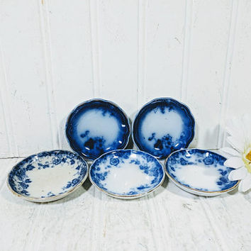 Flow Blue Butter Pats Collection of 5 Plates Vermont Pattern Miniature Plates Flow Blue Pottery China Porcelain Plates Collectible China Set