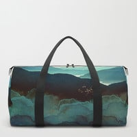 Indigo Mountains Duffle Bag by spacefrogdesigns
