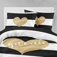 Personalized Bedding Comforter Duvet Black and White Gold Heart Name
