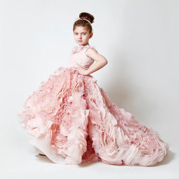 New Vestido daminha 2016 Luxury Pink Empire Flowers Tiered Tulle Flower Girl Dresses Princess Sleeveless Pageant Gowns Girls