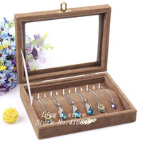 Free Shipping New Fashion Jewelry Accessories storage box Velvet Coffee Necklace Easel Showcase Holder Jewelry Display Stand