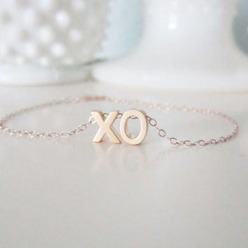 XO bracelet on gold filled chain, delicate modern jewelry