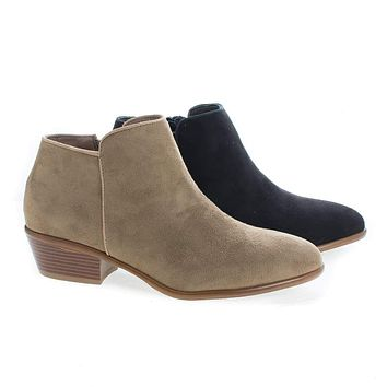 Manny01 By Wild Diva, Almond Toe Ankle Zip Up Stacked Heel Boots