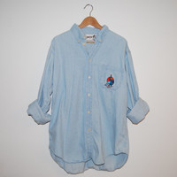 Oversized Button-down Light Denim Shirt with Santa Fe Buffalo Embroidery on Pocket