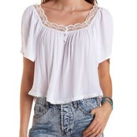 Lace Trim Peasant Crop Top by Charlotte Russe