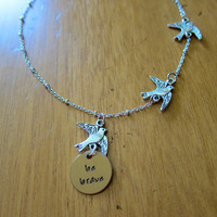 Divergent Inspired Necklace. Tris Three Flying Birds Tattoo. Quote I am Brave. Silver colored.