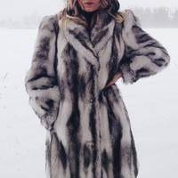 "Vintage 1970's 1980's Animal Friendly Faux ""Silver Fox"" Vegan Fur Coat 