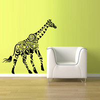 Wall Decal Vinyl Sticker Decals Giraffe Tribal Ethnic Circles Squares Animal Bedroom (z1475)