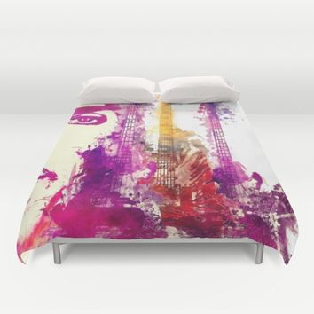 Prince and guitars Duvet Cover by GreatArtGallery