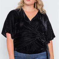 Plus || Velvet Side Tie Top | Black