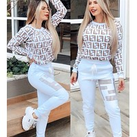FENDI Popular Women Casual F Letter Print Long Sleeve Sweater Top Pants Trousers Set Two-Piece Sportswear White