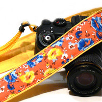 dSLR Camera Strap. Yellow Camera Strap with Flowers. Canon Camera Strap. Nikon Camera Strap. Women accessories