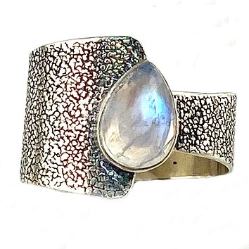 Moonstone Sterling Silver Two Halves Ring