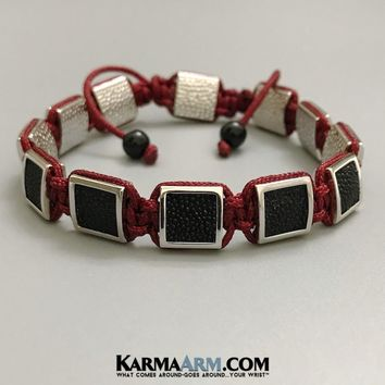 FlatBead Collection: Stingray Leather | White Gold Bracelet | Red Cord