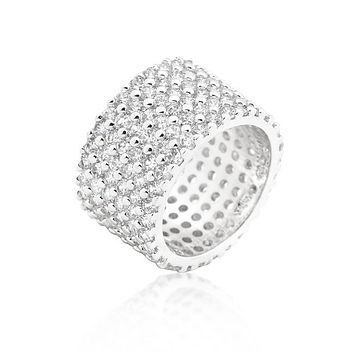 Tina Wide Paved Eternity Silver Band Ring   22ct