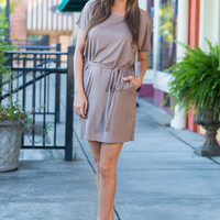 Tied And True Piko Dress, Taupe