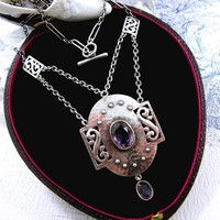 Antique Arts and Crafts Silver Necklace Amethyst MB & Co. Murrl... | kittysantiquejewelry - Jewelry on ArtFire