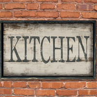 Wooden handmade Kitchen sign framed in wood.  Approx. 12x19x2 inches.  Handmade