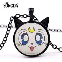 SONGDA Sailor Moon Luna Cat Cute Necklace Kawaii Anime Cat Big Eyes Ears Pendant Glass Dome Cosplay Party Jewelry Gift for Girls