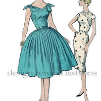 1960s Cocktail, Party or Day Office Sheath Dress or Full Flared Skirt- Suplice Bodice V-Neckline Bust 34 ADVANCE 9362 Vintage Sewing Pattern
