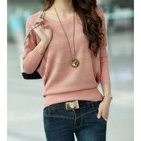 Bat Sleeves Women Knitting Pullover Sweater